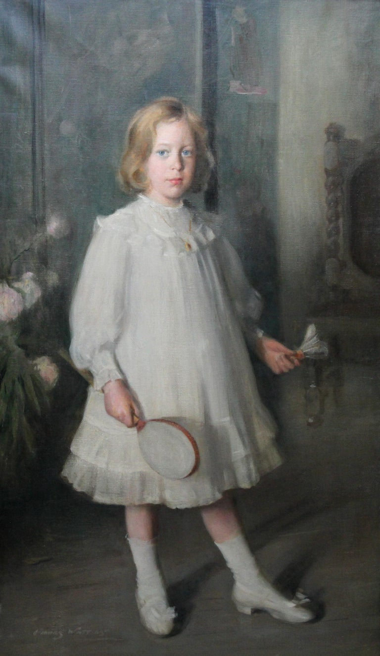 Portrait of Muriel Sutherland Playing Badminton- Scottish Edwardian Oil Painting - Gray Portrait Painting by George Fiddes Watt