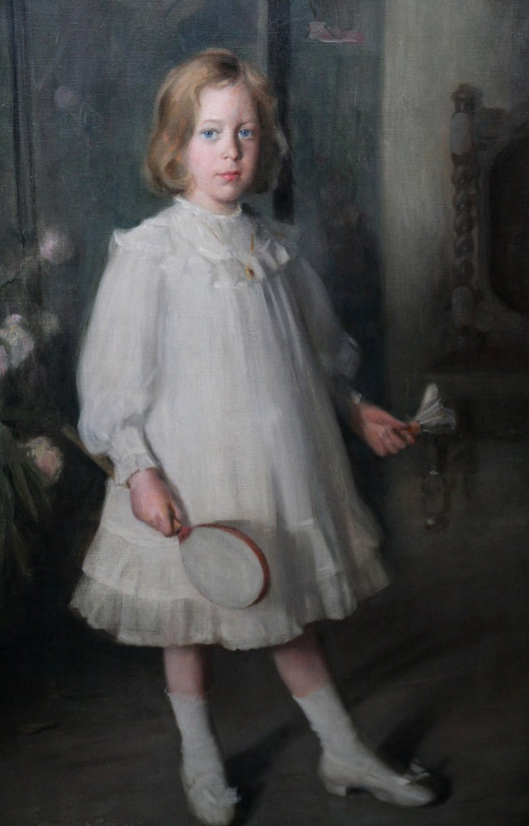 This charming Edwardian Scottish full length portrait oil painting is by noted Scottish portrait artist George Fiddes Watt. Painted circa 1910, the sitter is Muriel Sutherland, daughter of J B Sutherland. Muriel, aged about 9 years old, is stood in