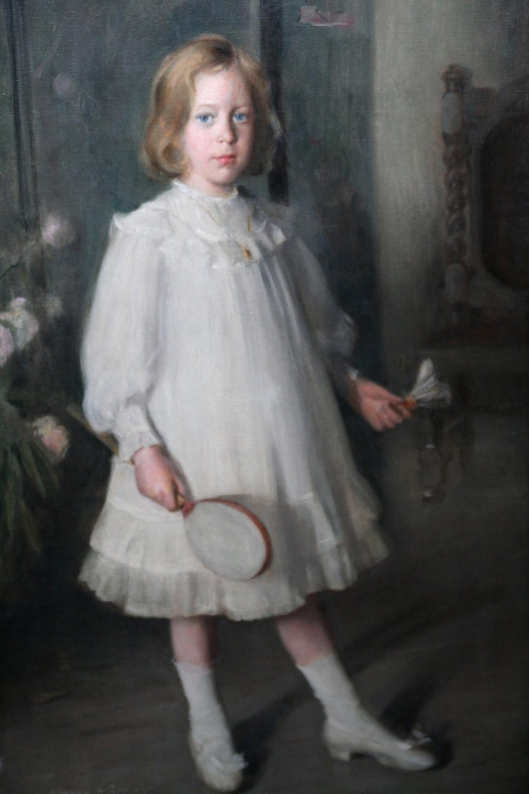 Portrait of Muriel Sutherland Playing Badminton- Scottish Edwardian Oil Painting For Sale 1