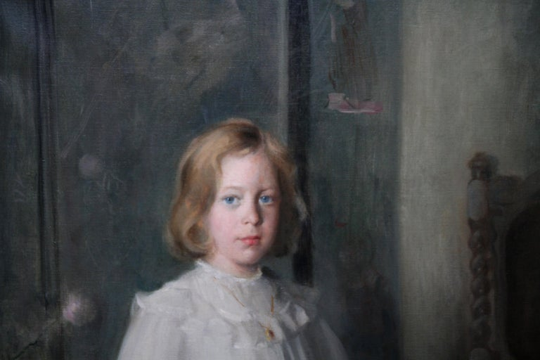 Portrait of Muriel Sutherland Playing Badminton- Scottish Edwardian Oil Painting For Sale 2