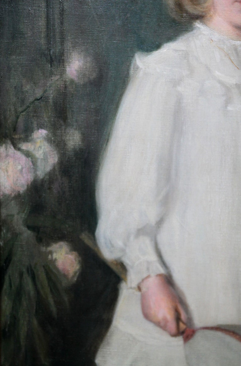 Portrait of Muriel Sutherland Playing Badminton- Scottish Edwardian Oil Painting For Sale 4