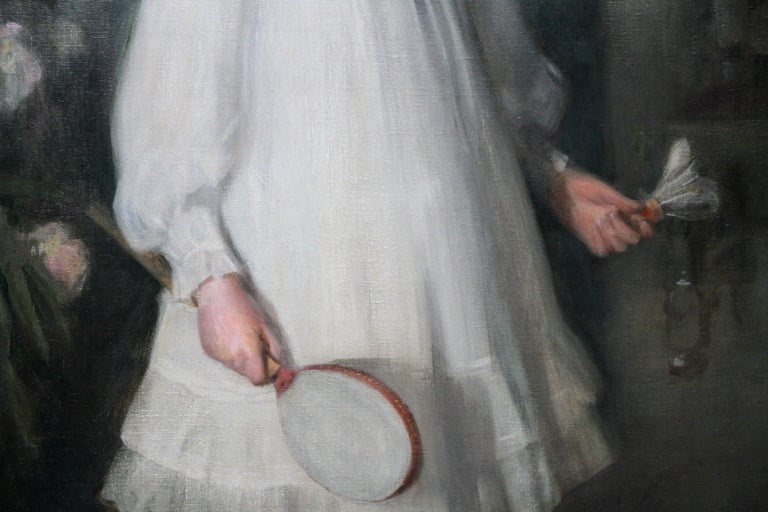 Portrait of Muriel Sutherland Playing Badminton- Scottish Edwardian Oil Painting For Sale 5