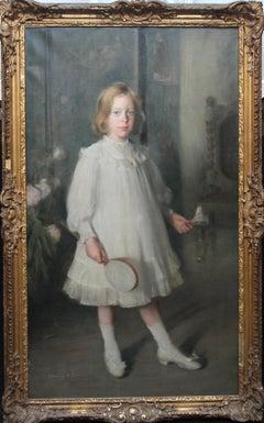 Portrait of Muriel Sutherland Playing Badminton- Scottish Edwardian Oil Painting