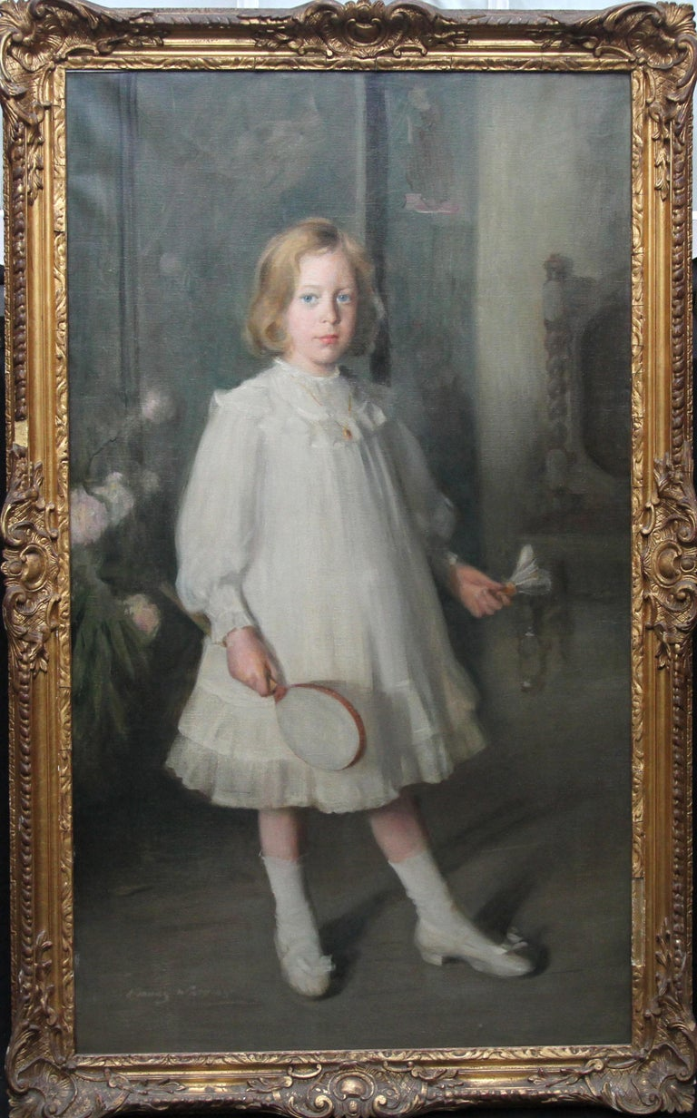 George Fiddes Watt Portrait Painting - Portrait of Muriel Sutherland Playing Badminton- Scottish Edwardian Oil Painting
