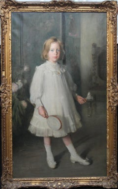 Portrait of Muriel Sutherland Playing Badminton- Scottish Edwardian Oil Painting