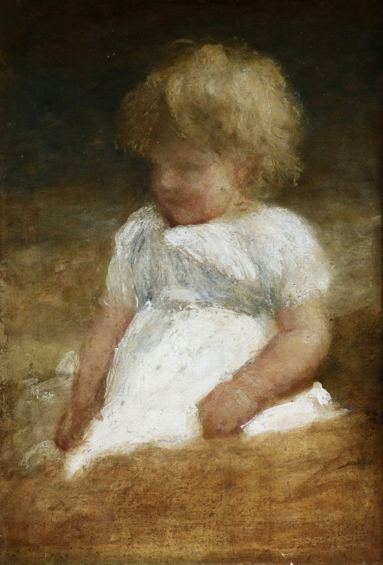 George Frederic Watts OM RA Figurative Painting - Portrait of a Young Girl