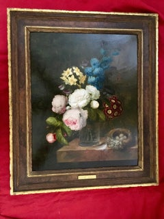 Still life of flowers in a vase with ants and flies with Roses and a birds nest