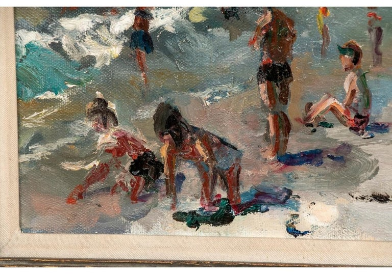 Signed and dated 1968 on the lower right and on verso with title and date. Christies labels on the stretcher- 10-JAN 07, sale 1786 lot 23. A wonderful view of the crowded beach with some women wearing two-piece bathing suits in the latest style of