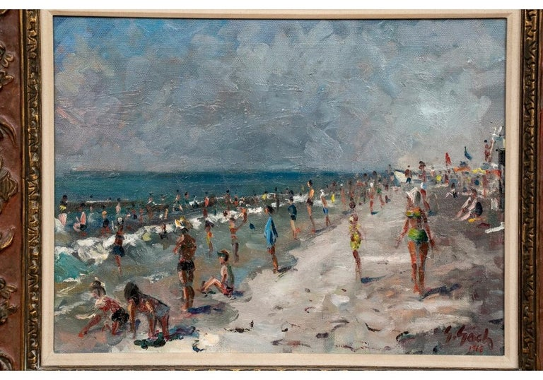 Hand-Painted George Gach 'Hungarian-American, NY, 1909-1996' Oil On Canvas,
