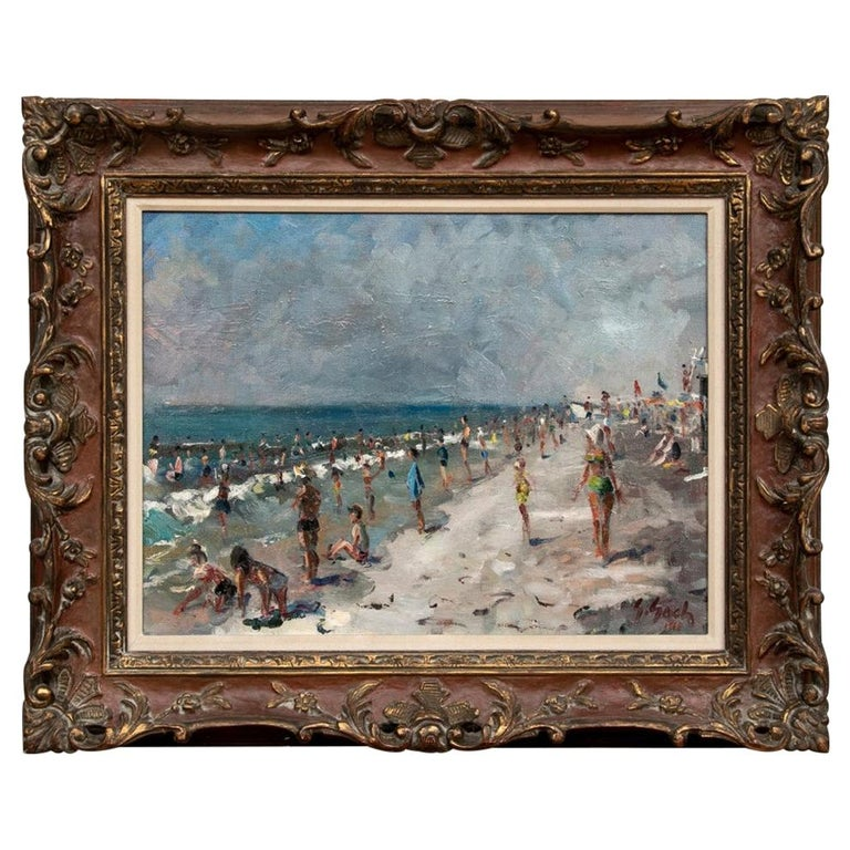 "George Gach 'Hungarian-American, NY, 1909-1996' Oil On Canvas, ""Jones Beach 1968 For Sale"