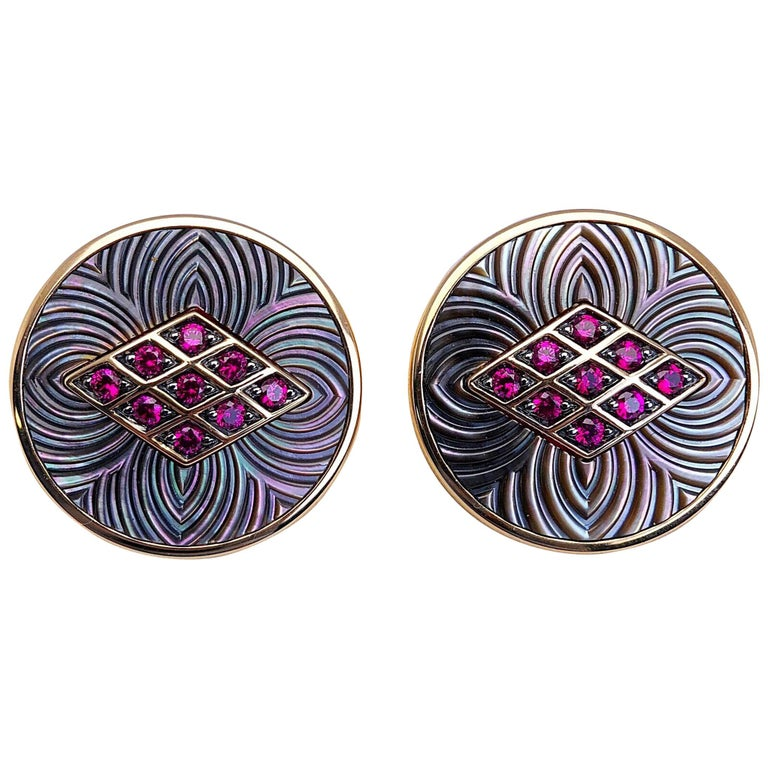 George Gero 18 Karat Gold .44 Carat Ruby and Black Mother of Pearl Cuff Links For Sale