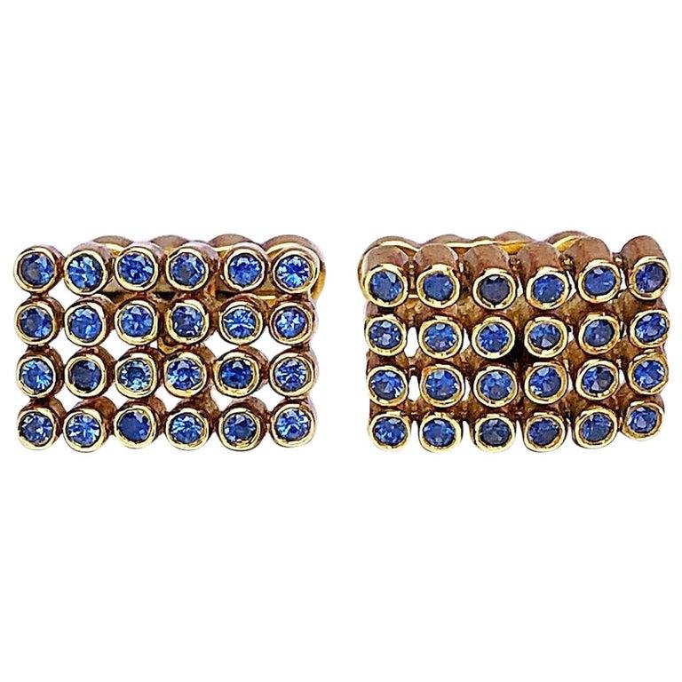 George Gero 18 Karat Gold Rectangular Cufflinks with 1.17 Carat Blue Sapphires For Sale