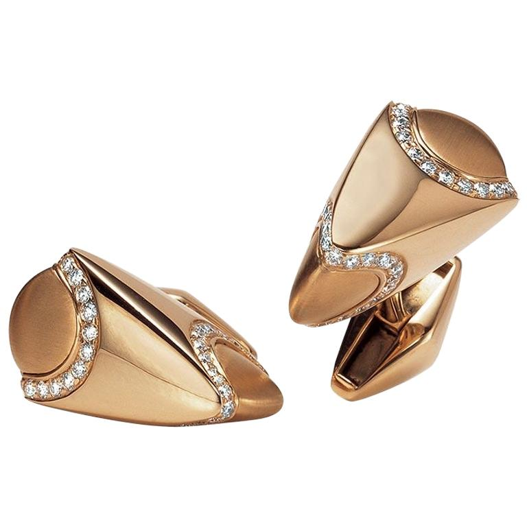 George Gero 18 Karat Rose Gold and 1.03 Carat Diamonds Cufflinks For Sale