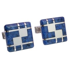 George Gero 18 Karat White Gold and Blue Dumortierite Square Cufflinks