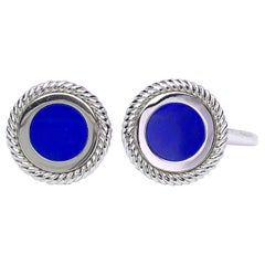 George Gero 18 Karat White Gold Cufflinks with Lapis Lazuli Center