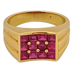 George Gero 18 Karat Yellow Gold, 2.90 Carat Ruby Ring