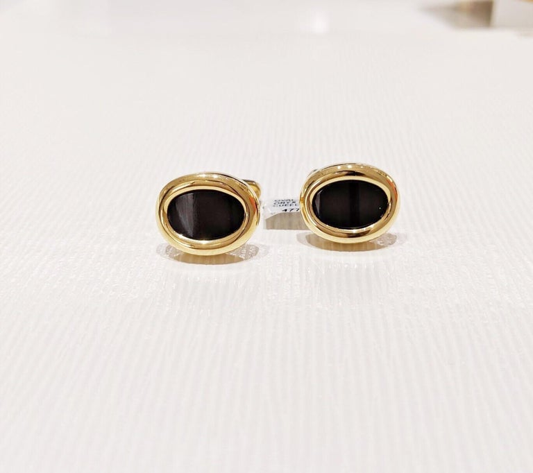 George Gero 18 Karat Yellow Gold Black Onyx Oval Cuffinks In New Condition For Sale In New York, NY