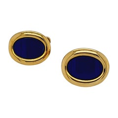 George Gero 18 Karat Yellow Gold Oval Cufflinks with Lapis and Onyx