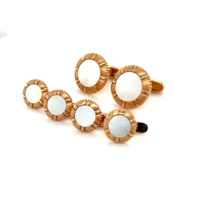 Women's or Men's George Gero 18KT Rose Gold & Pinctada Maxima Cuff-Links / Studs Dress Set For Sale