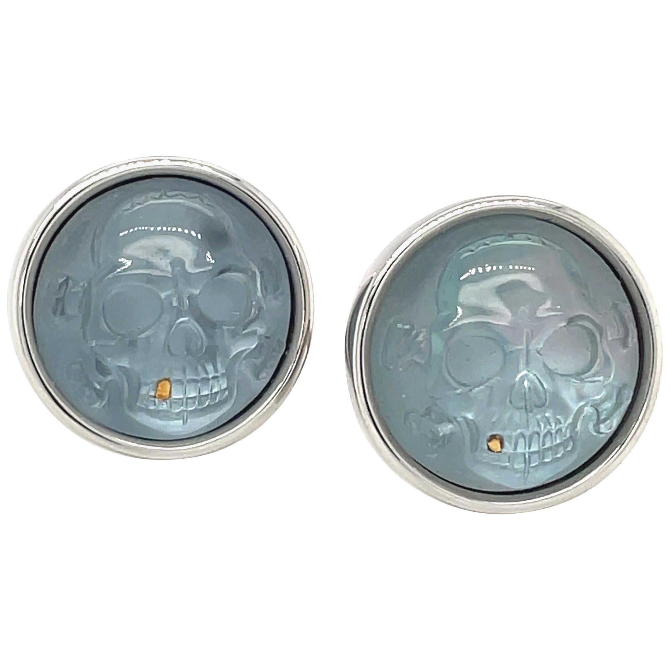 George Gero 18kt White Gold and Blue Crystal Skull Cufflinks