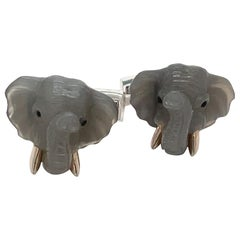 George Gero 18kt White Gold Moonstone & Blue Sapphire Elephant Head Cuff Links