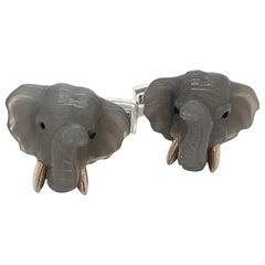 George Gero 18kt White Gold Moonstone & Blue Sapphire Elephant Head Cuff Links