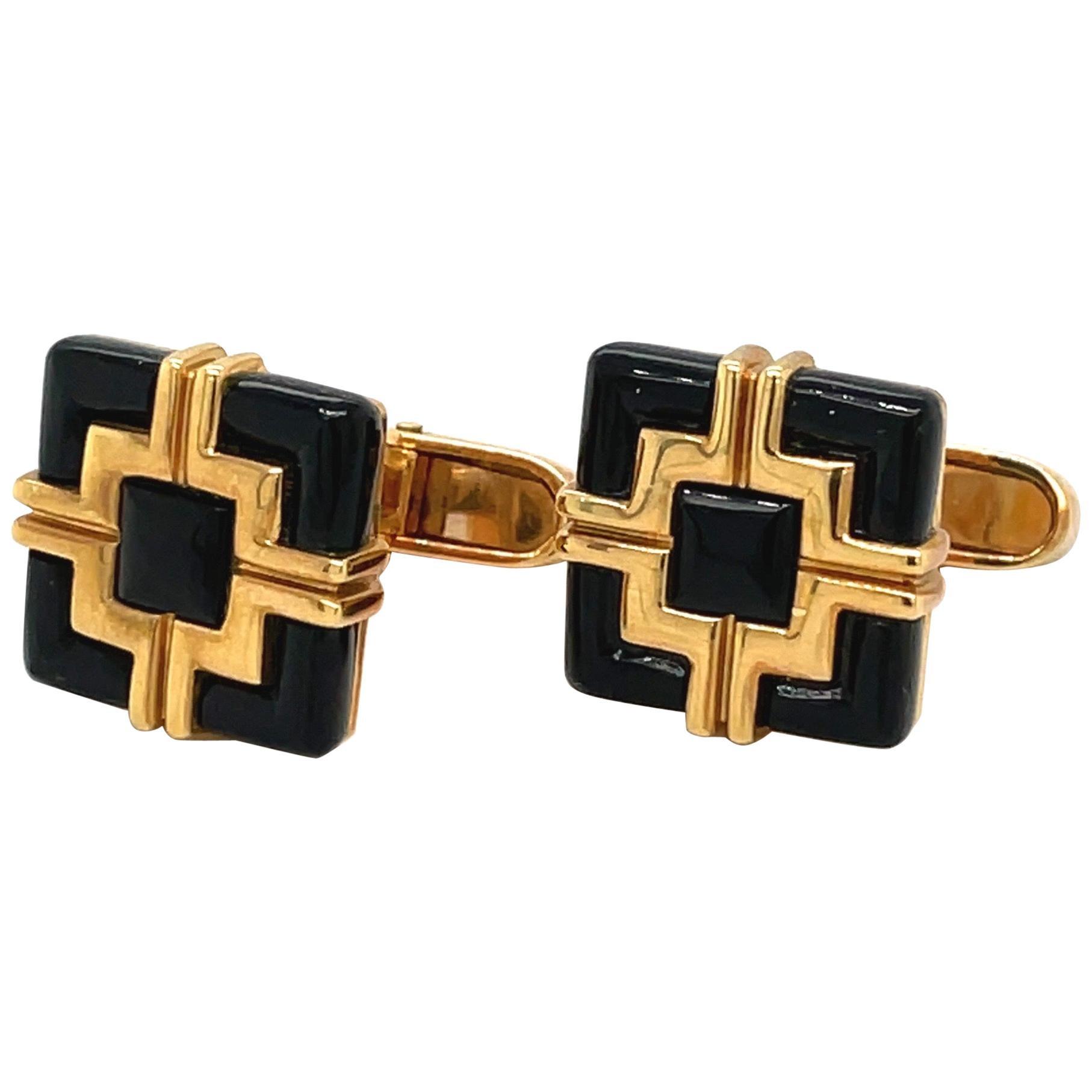 George Gero 18KT Yellow Gold Black Onyx Geometric Cuff Links