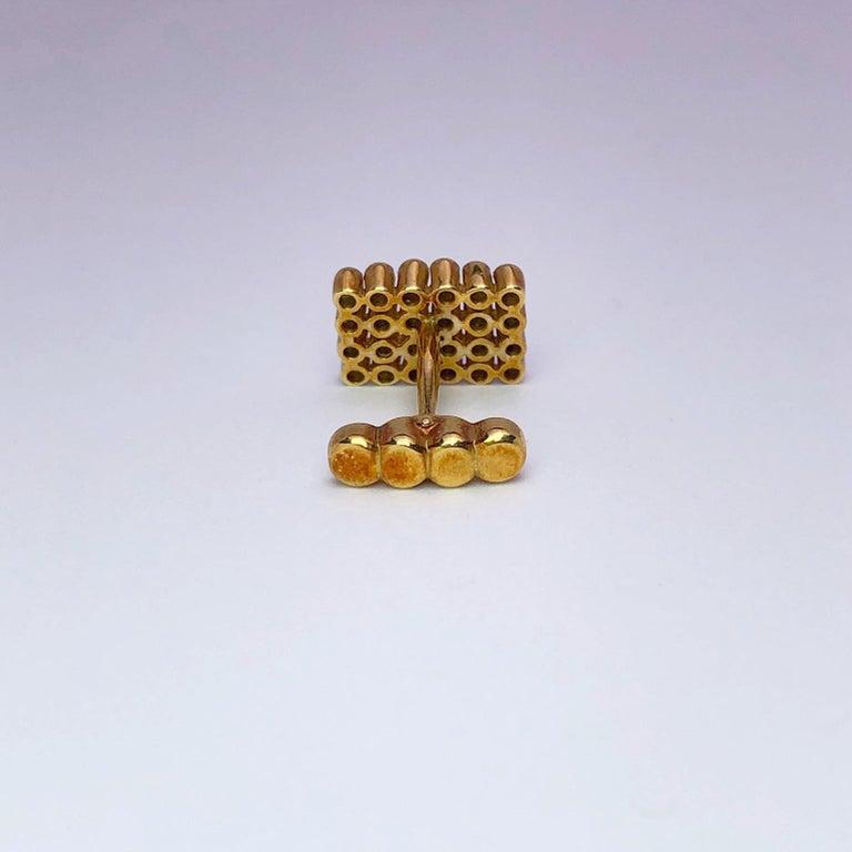 Round Cut George Gero 18 Karat Gold Rectangular Cufflinks with 1.17 Carat Blue Sapphires For Sale
