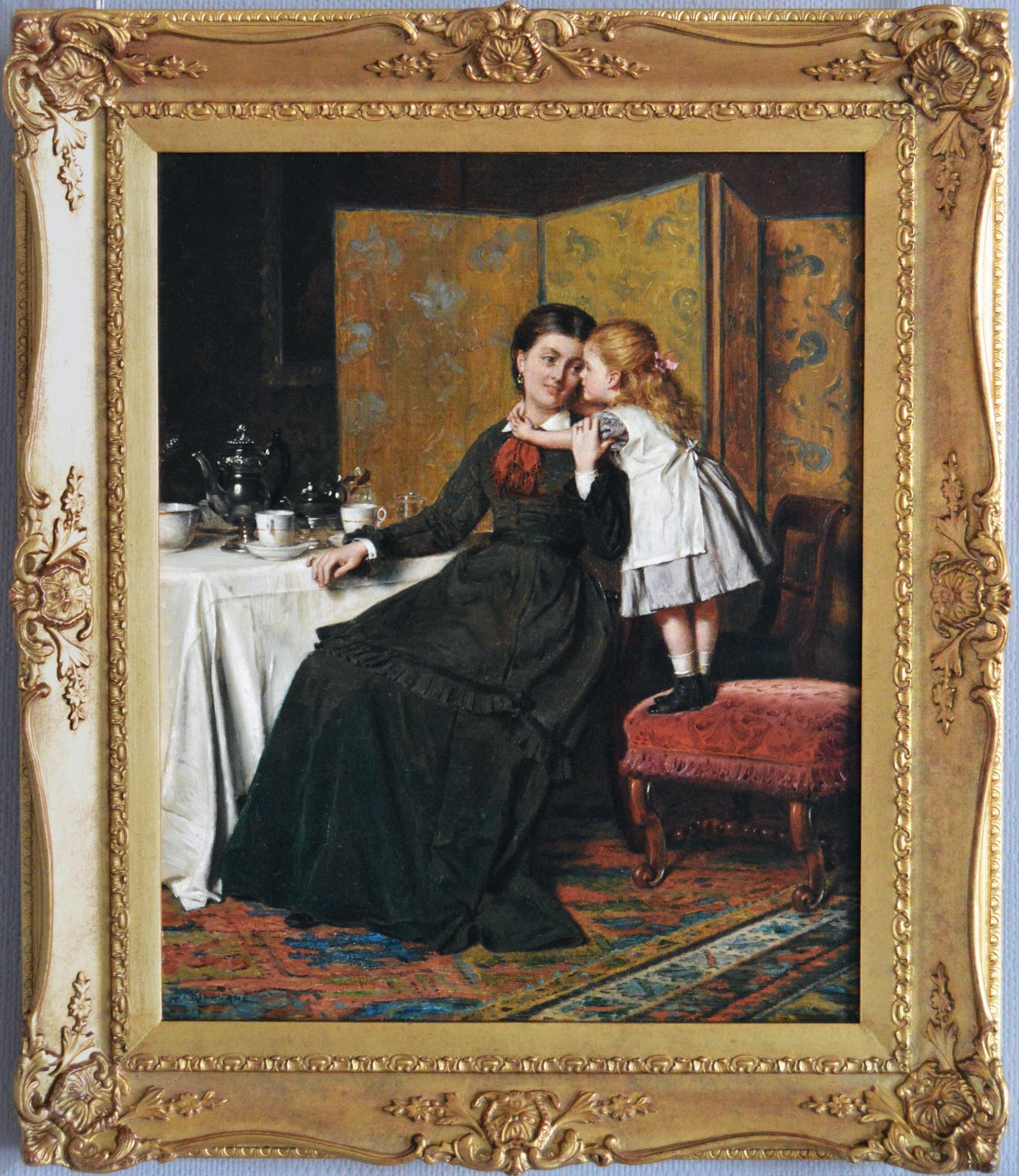 19th Century genre oil painting of a mother and daughter