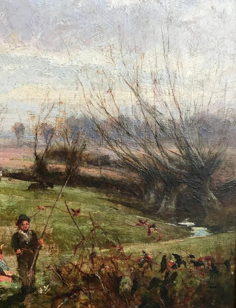 George Gray, Oil on Canvas, Rural Scene with Couple Fishing, circa 1880 For Sale 5