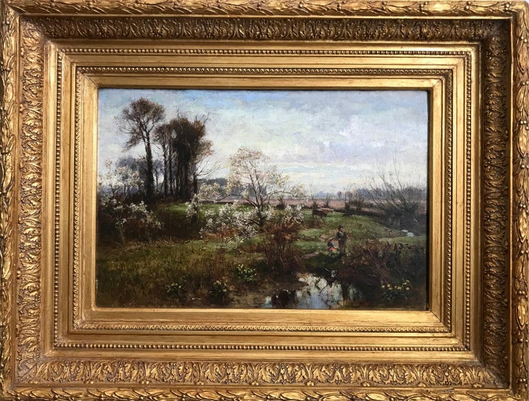 Oil on canvas signed lower left 'Geo Gray'.  A rustic spring country scene with a young couple fishing on the banks of a small brook. The river bank with daffodils and blossom trees, with far reaching views across a meadow with cows and ploughed