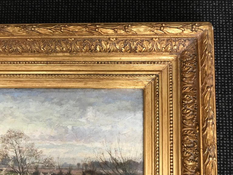 19th Century George Gray, Oil on Canvas, Rural Scene with Couple Fishing, circa 1880 For Sale