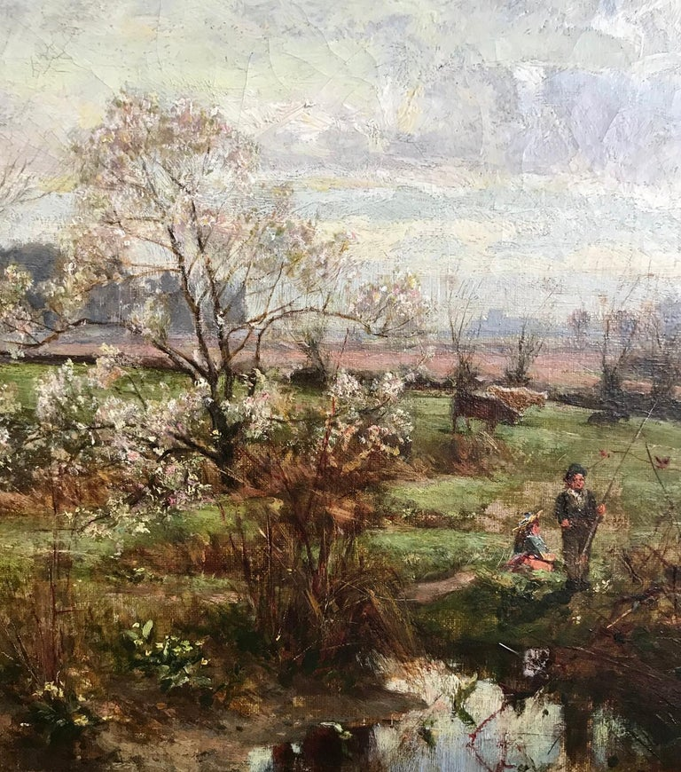 George Gray, Oil on Canvas, Rural Scene with Couple Fishing, circa 1880 For Sale 2