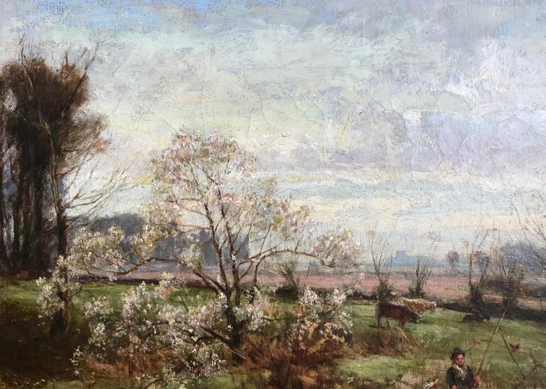 George Gray, Oil on Canvas, Rural Scene with Couple Fishing, circa 1880 For Sale 3