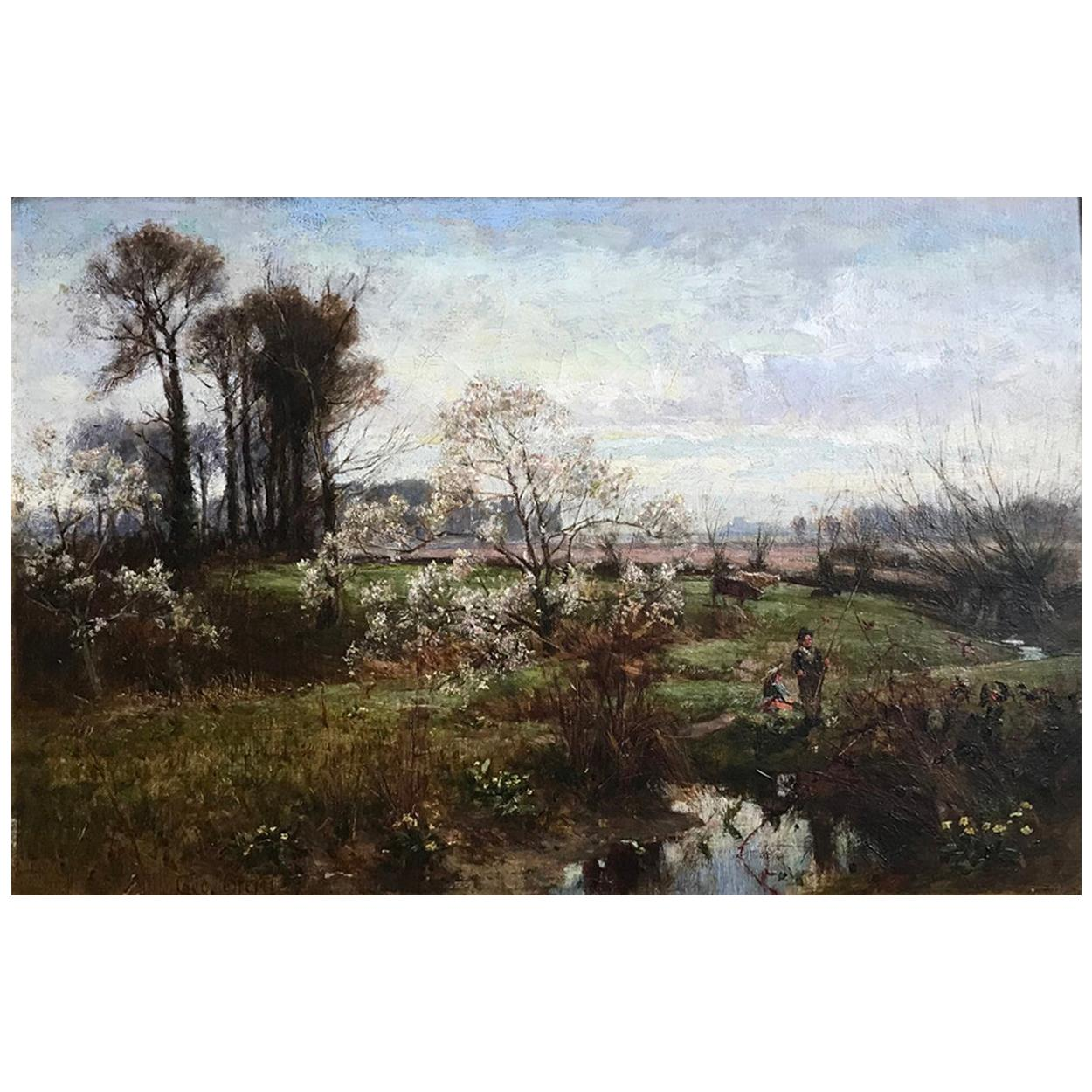 George Gray, Oil on Canvas, Rural Scene with Couple Fishing, circa 1880