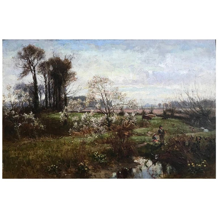 George Gray, Oil on Canvas, Rural Scene with Couple Fishing, circa 1880 For Sale