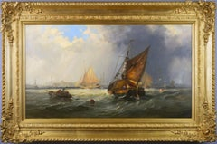 19th Century marine oil painting of ships on the Medway