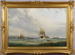 19th Century marine oil painting of ships on the Solent off the Isle of Wight