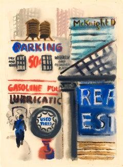 New York Street, Downtown Manhattan, George Grosz, 1933 (Dada Streetscape)