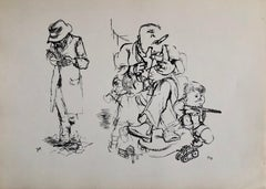 1936 Lithograph Interregnum, Cigar, Kid w Toy Gun,  Small Edition Weimar Germany