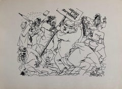 1936 Lithograph Interregnum Street Riot Protest Small Edition Weimar Germany