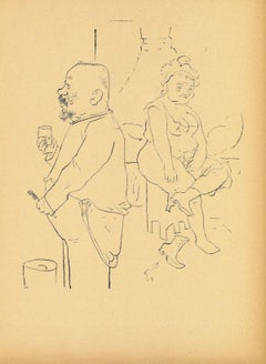 At Home - Original Offset and Lithograph by George Grosz - 1923