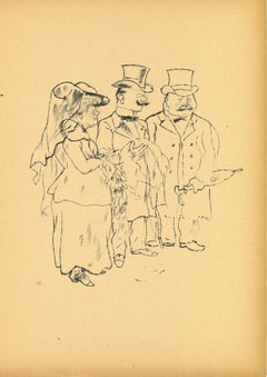 Bereaved - Original Offset and Lithograph by George Grosz - 1923