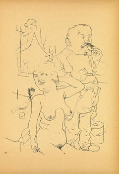 Couple - Original Offset and Lithograph by George Grosz - 1923