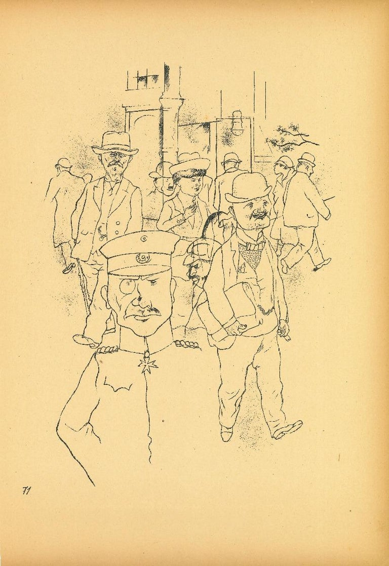 German Men from Ecce Homo is an original offset lithograph, realized by George Grosz.  The artwork is the plate n. 71  from the porfolio Ecce Homo published between 1922/1923,edition of Der Malik-Verlag Berli, that includes offset lithograph
