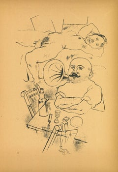 Dream - Original Offset and Lithograph by George Grosz - 1923