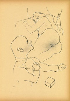 Dr.S. and Woman - Original Offset and Lithograph by George Grosz - 1923