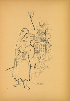 Family - Offset and Lithograph by George Grosz - 1923