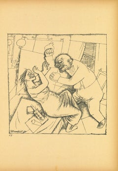 Fight from Ecce Homo - Original Lithograph by George Grosz - 1923