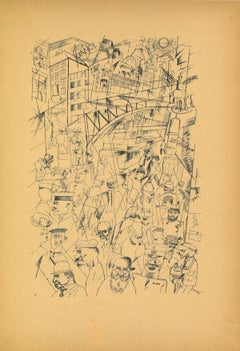 Friedrichstrasse - Original Offset and Lithograph by George Grosz - 1923